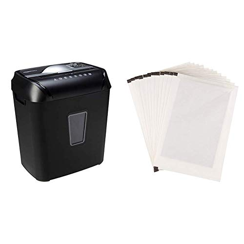 AmazonBasics 12-Sheet Cross-Cut Paper and Credit Card Home Office Shredder & SP12A Paper Shredder Sharpening & Lubricant Sheets - Pack of 12