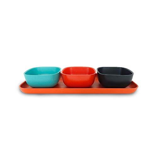 EKOBO Servierschalen Set, 4-teilig, mit Tablett und 3 Schälchen, Geeignet als Sushi Set, Tapas Schalen, für Fondue, Raclette, Snacks, Nüsse, Antipasti, Dip Schälchen (Lagoon/Persimmon/Black)