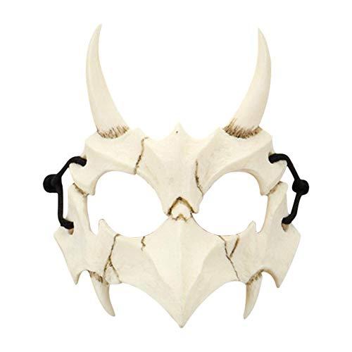 Brillie Media Máscara Máscara De Mitad De Animal De Halloween Dientes Largos Máscara De Hueso Blanco Máscara De Tigre De Dragón para Fiesta De Disfraces De Cosplay Fiesta De Disfraces