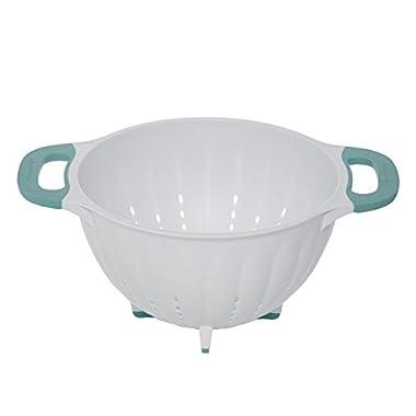 KitchenAid Pasta Strainer/Colander, 5-Quart, White/Aqua Sky