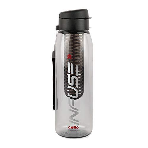 Cello Infuse Plastic Water Bottle, 800 ml, Black