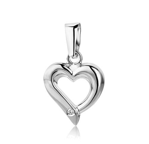 Miore Anhänger Damen 0.01 Ct Diamant Kettenanhänger Herz aus Weißgold 18 Karat / 750 Gold, Schmuck mit Diamant Brillant