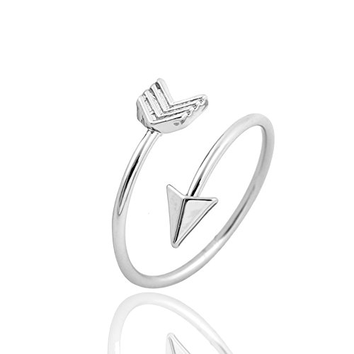 METTU Silver and Rose Gold Open Adjustable Love Arrow Ring for Girls silver