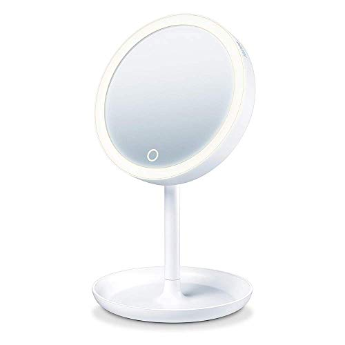 Breurer BS 45 Specchio Cosmetico con Illuminazione LED Regolabile, Ingrandimento 5X e Base Porta Oggetti - 40 g