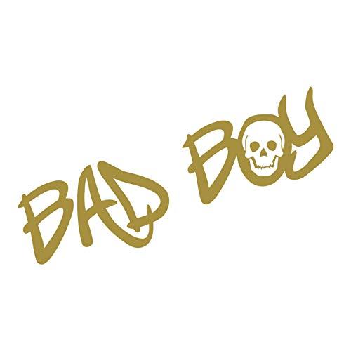 kleb-Drauf | 1 Bad Boy | Gold - matt | Autoaufkleber Autosticker Decal Aufkleber Sticker | Auto Car Motorrad Fahrrad Roller Bike | Deko Tuning Stickerbomb Styling Wrapping