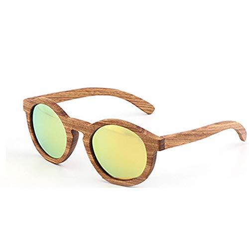 GTYHJUIK zonnebril van bamboehout, gepolariseerde lampenkap, ronde spiegel tegen reflecties voor het rijden buitenshuis, bescherming tegen de straling voor mannen en vrouwen