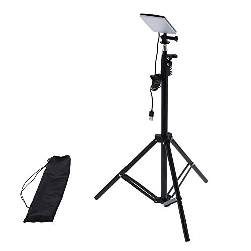 Akozon Trípode para lámpara de cámara, luz USB para Acampar al Aire Libre, lámpara LED para cámara Selfie, trípode telescópico Ajustable