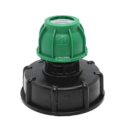 FYBlossom IBC Adaptador De Tanque, Adaptador De Tanque para IBC, Adaptador IBC para Bidón De 1000 litros De Plástico S60X6 Conector De Manguera De Jardín (Salida 20cm)