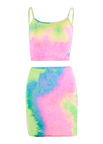 Sofkiny Women's Sexy 2 Pieces Tie-dye Dress Set Strap Crop Tops Bodycon Skirts Party Clubwear Outfits
