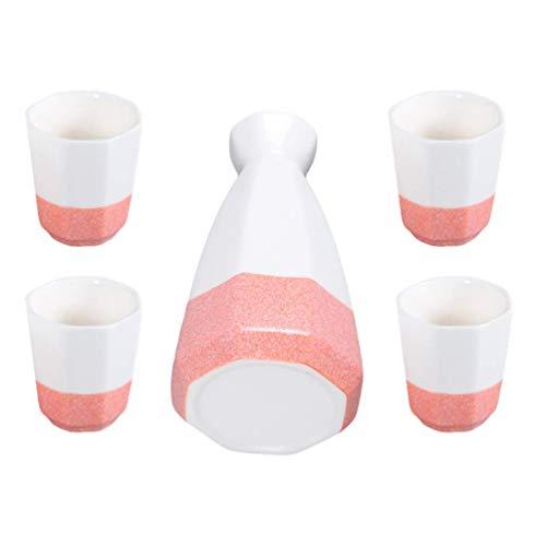 sahadsbv 1 Set Sake-Set aus Keramik Karaffe Dekanter Tokkuri-Flasche und Ochoko-Becher für heißen oder kalten Sake zu Hause oder im Restaurant Liquor Collection Drinkware