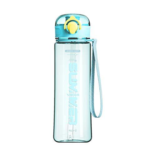 Bottiglia D'acqua con Cannuccia, 500 ml senza BPA con Indicatore del Coperchio A Tenuta Stagna Plastica Riutilizzabile Portatile per Adolescenti Sport per Adulti Palestra Fitness