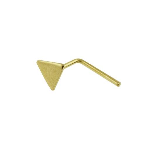 9K Solid Gelb Gold Ebene Dreieck Top 22 Gauge L Form Nase Stud Piercingschmuck