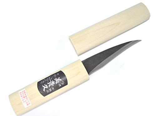 Cuchillo Artsianal japonés Kiridashi con hoja curva de carbono forjado a mano en Japón (negro)