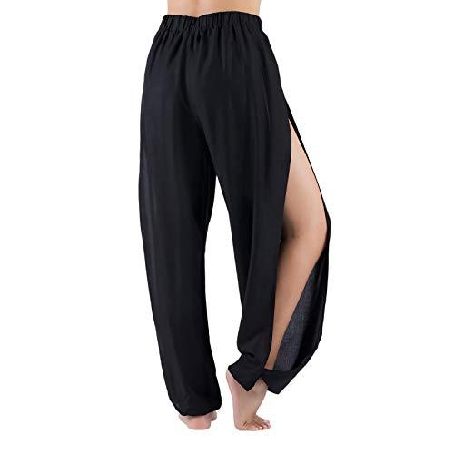 LOFBAZ Pantalones de yoga Harem de alta abertura para mujer, pantalones de playa - negro - Medium