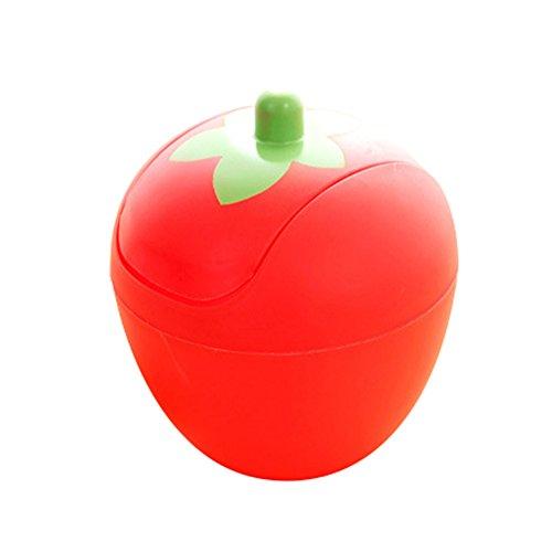 JUNGEN Papeleras de Escritorio del Forma de Fresa con Diseño de Tapa Flexible Mini Cubo de Basura Pequeño Bote de Basura de plástico para Hogar Oficina Cubo de Almacenamiento Creativo (Rojo)