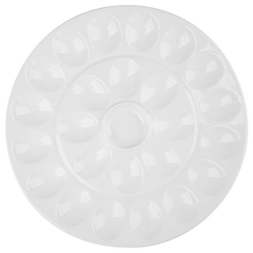 Foraineam 12.6 Inches Porcelain Deviled Egg Tray / Platter, White Egg Dish with 25 Compartments