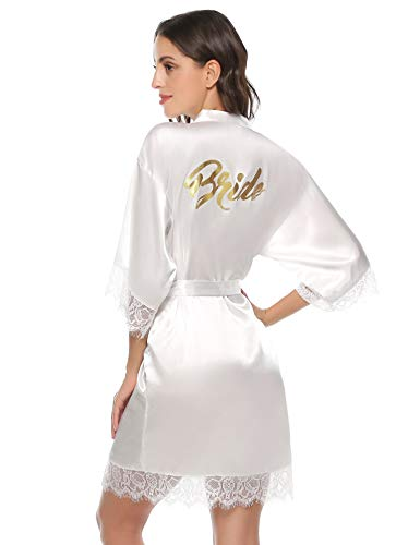 Aibrou Damen Morgenmantel Bademantel Kurz Satin Robe Kimono mit Spitze Nachthemd Nachtwäsche Sleepwear mit Gürtel für Braut Brautjungfern Weiß-Braut L