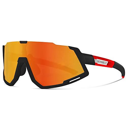 VICTGOAL Fahrradbrille Sportbrille Polarisierte mit 3 Wechselgläser Leichte Sonnenbrille für Herren Damen zum Radfahren Wadern Laufen (Schwarz Rot)