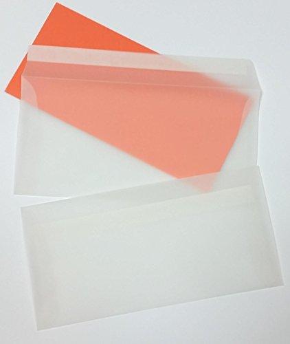 250 Briefumschläge transparent DIN lang haftklebend (Abziehstreifen) Transparenthüllen weiß