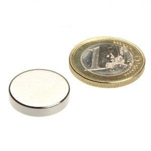 Scheibenmagnet Ø 18,0 x 4,0 mm N45 Nickel - hält 3,8 kg, Neodym Supermagnet Powermagnet Haftmagnet, Magnetscheibe, Zylindermagnet