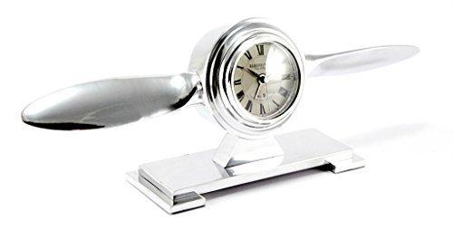 Brillibrum Tischuhr Propeller Uhr Kamin Flugzeug Tisch Metall Quarz Uhr Quarzuhr Wecker Clock Art Déco Flyer (Uhr mit Gravur bis 25 Zeichen)