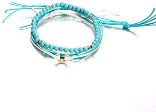 Women Jewelry Anklets - Blue Beaded Anklet A of Wax Rope Beads Multilayer Anklets Ethnic Jewelry for Women - Blue