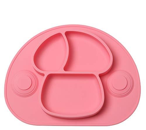 DEBAIJIA Bebé Niños Plato de Silicona Fuerte Succión Ventosa Divididas Placemat Grado Alimenticio Infantil Antideslizante FDA y Sin BPA, Microonda, Lavavajillas, Congelador Seguro - Rosa