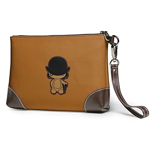 Un reloj naranja muñeca señoras cuero cartera cosméticos moda personalidad tendencia impresión patrón pequeño ligero durable cremallera embrague noche señoras bolsos
