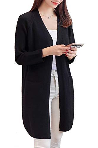 BoBo Lily Cardigan Elegant Damen Mode Longpullover Herbst Winter Vordertaschen Warme Unikat Style Langarm Unifarben Pullover Gemütlich Freizeit Strickpullover