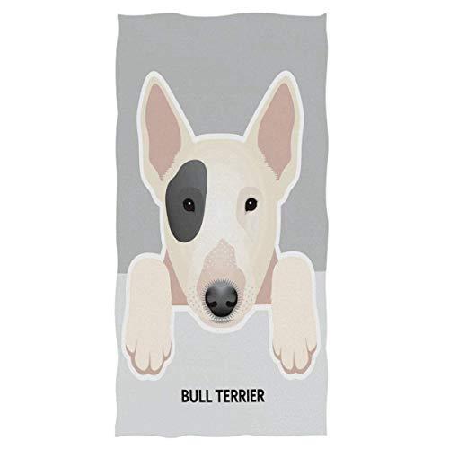 Toallas de Mano Grandes con diseño de Perro Toalla de baño Bull Terrier Toalla de baño Multiusos Ultra Suave Altamente Absorbente para la Mano, la Cara (40x70cm)