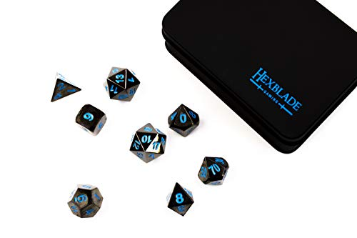 DND Metal Dice Set | 8 High Definiton, Polyhedral Dice for RPG, Dungeons & Dragons | by Hexblade Gaming | Inc. 2 x D20… 5