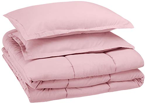 AmazonBasics Easy-Wash Microfiber Kid's Comforter and Pillow Sham Set - Full or Queen, Light Pink