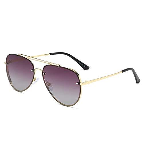 HAISERVEN Sin Montura UV400 de Las Gafas de los vidrios de conducción for Las Mujeres 6 Colores Marco de Acero Inoxidable con la Caja Gafas de Sol (Lenses Color : Brown)