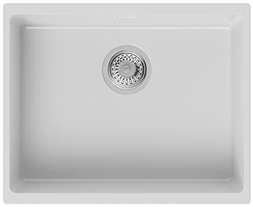 Fregadero bajo Encimera 55,5 x 45 cm, Fregadero Granito Un Seno + Sifón Clásico, Fregadero Cocina London 60 de Primagran, Blanco