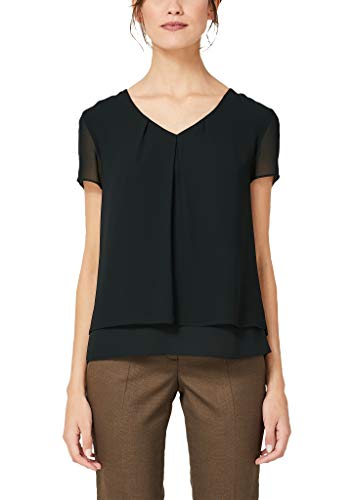 s.Oliver BLACK LABEL Damen 01.899.12.5102  Regular Fit Bluse,  Schwarz (Forever Black 9999),  (Herstellungsgröße: 42)