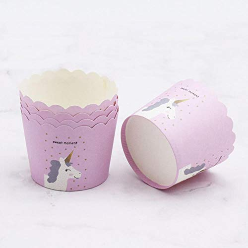 LEIXNDPLBO 50Pcs / Set Unicorn Flamingo Rainbow Cake Cup Baking Muffin Cakes Chocolate Sticky Rice Ppaper Tray, 5