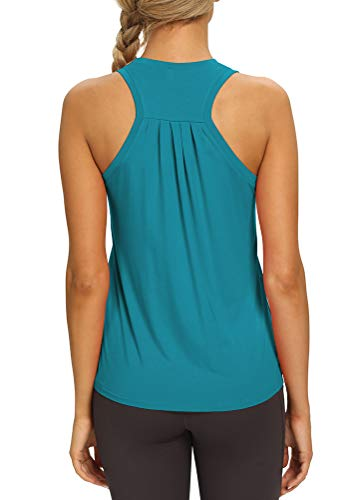 Mippo Yoga Tops Workout Tanks Ladies Tops Athletic Clothing Cute Activewear Tops Gym Tennis Shirts Fitness Apparel High Neck Tank Tops for Women Turquoise L