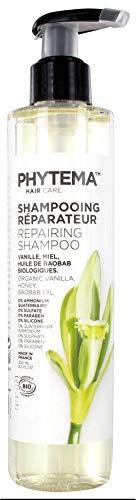 Le shampooing réparateur Phytema™ HAIRCARE associe les vertus du miel, de la vanille et de l'huile de baobab pour nourrir et réparer les cheveux secs, sensibilisés, cassants ou crépus.