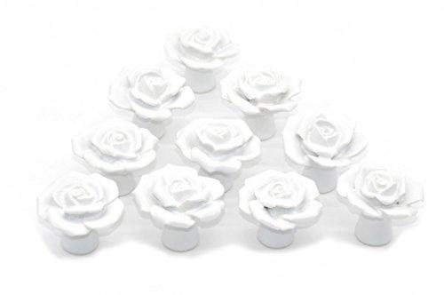 Rosa Fiore Porta Pomello in Ceramica Comò Armadio Cucina Armadio Cassetto Maniglie 10 Pack, Bianco