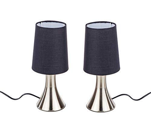 Juego de 2 lámparas para mesita de noche con función táctil, color: negro