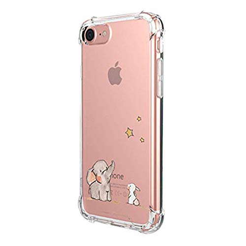 Alsoar Funda Compatible para iPhone 7,iPhone 8 Ultra Delgada Ligera Transparente Silicona TPU Gel Suave Carcasa Elegante Patrón Lindo Bumper Anti-Rasguño Protector Caso Case (Estrella de Elefante)