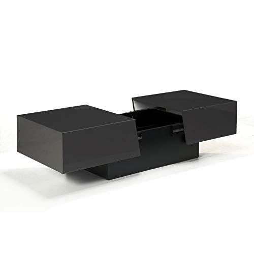 Berlioz créations Péro Noir Table basse avec fonction bar, Panneaux de Particules, 113x40x60 cm, Fabrication 100% Française
