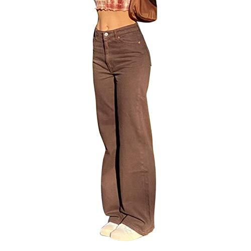 Young Forever Vintage Jeanshose Damen Straight Leg Hose Damen mit Hoher Taille Y2k Hose Harajuku Pants Casual Pants Slim Vintage (A-Braun, M)