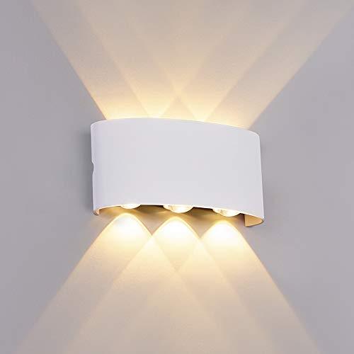 ERWEY Wandleuchte Innen LED Modern Wandlampe Aluminium Up Down Spotlicht Warmweiß Wandlicht für Schlafzimmer, Wohnzimmer, Bad, Flur, Treppe (Weiß, Mittel 18W)