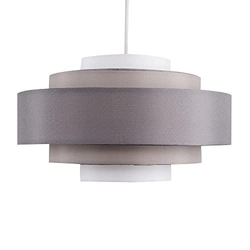 MiniSun – Fünfstufiger Lampenschirm in drei Grautönen – Grauer Lampenschirm Stoff – Lampenschirm grau (Poly-Baumwolle, 35 cm)