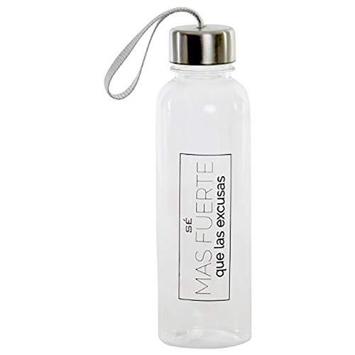 Botella de Agua Transparente 600 ml Frase Motivadora, Deportiva con Tapón Hermético. (A)