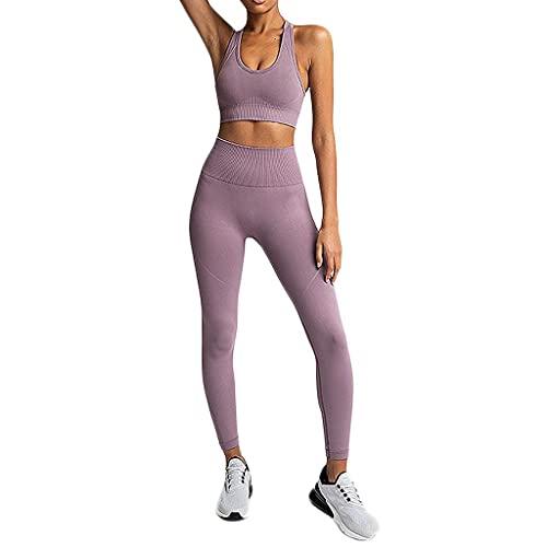 Writtian Conjunto de sujetador y leggings para mujer, de cintura alta, ropa deportiva para mujer, conjunto de mallas y mallas, C-lila., S
