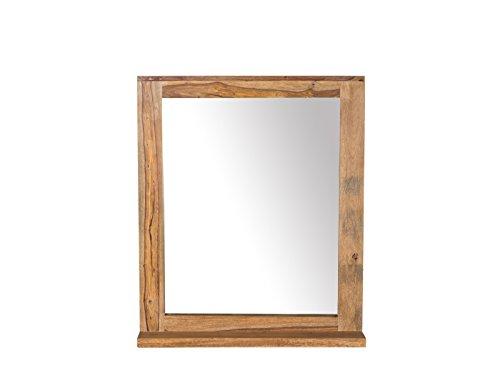Woodkings® Spiegel Leeston 68x78 cm Echtholz Palisander massiv Badspiegel Wandspiegel mit Ablage Badmöbel Badezimmermöbel Massivholz