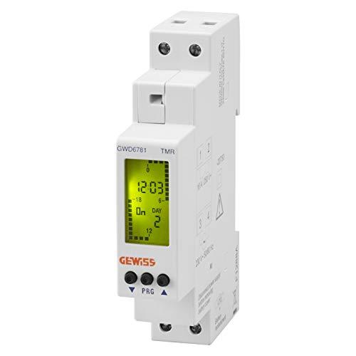 Interruptor horario digital semanal, marca GEWISS - 1 contacto NA - 16A/230Vca - 1 módulo DIN - reserva de carga 4 años - GWD6781