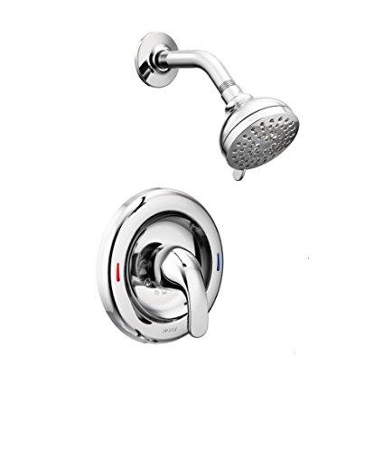 Moen 82604 Adler 1 Handle Tub & Shower Faucet Nickel Finish Spot Resist Brushed 1 Watersense Bathtub Multi-Function Showerhead, Chrome